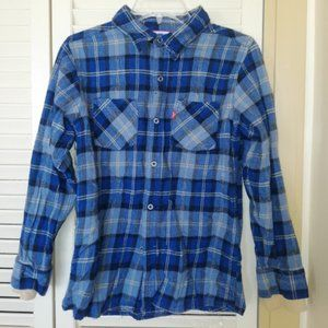 Levis Blue Checked Flannel Shirt Boys Large 16 18